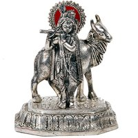 UFC Mart Antique White Metal Lord Krishna With Cow Idol