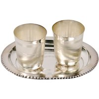 UFC Mart Silver Polished Designer 2 Brass Glass N Tray