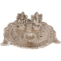 UFC Mart White Metal Lord Laxmi Ganesh With Dia Thali