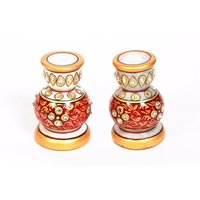 UFC Mart Handcrafted Marble Candle Holder Set Of 2
