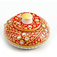 UFC Mart Sindoor Daani With Kundan And Gold Paint Work In White Marble