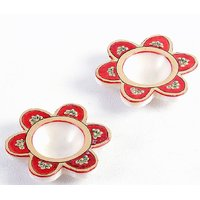 UFC Mart Floral Marble Hand Painted Red And Gold Diyas Set