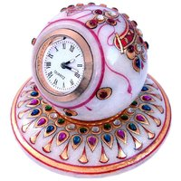 UFC Mart Gold Painted Handmade Round Marble Table Clock