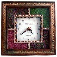 UFC Mart Antique Handcrafted Gemstone Wooden Wall Clock