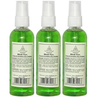 Khadi Pure Herbal Neem Cucumber Face Freshener - 100ml (Set of 3)