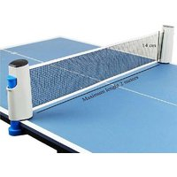 HOMMER Adjustable Length and Push Clamps Hi-Quality Retractable Table Tennis Net  (White, Blue)
