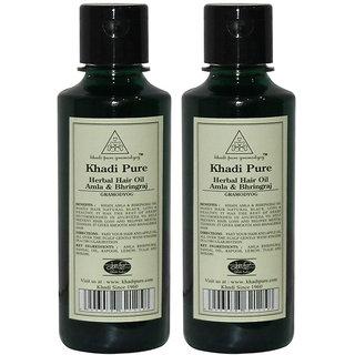 Khadi Pure Herbal Amla Bhringraj Hair Oil - 210ml (Set of 2)