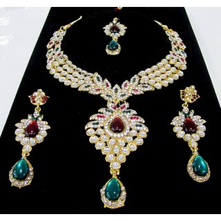Semi-Precious Traditional Stunning Stone Jewellery Set with Lovely Earrings
