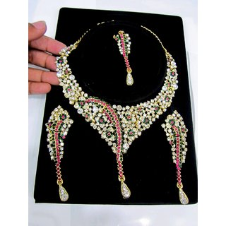 One Gram Gold Traditional Semi-Precious Stones Jewellery Set