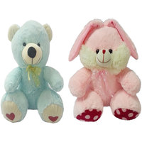 Set Of 2 Soft Teddy And Bunny