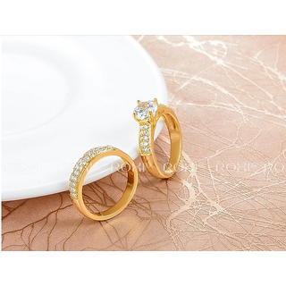 18KT Pure Gold Coated Auatralian Diamond Ring At Special Festival Offer - 4877694