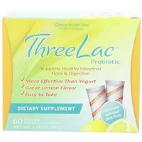 Threelac Probiotic Dietary Supplement, Natural Lemon Flavor, Includes 60