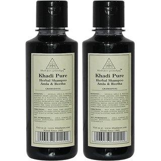 Khadi Pure Herbal Amla Reetha Shampoo - 210ml (Set of 2)