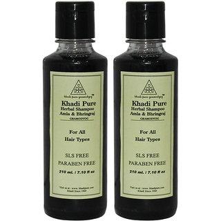 Khadi Pure Herbal Amla Bhringraj Shampoo SLS-Paraben Free - 210ml (Set of 2)