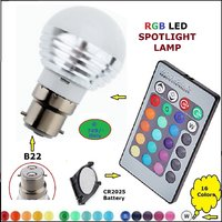 16 Colors RGB LED B22 Light LED Lamp With Remote Control