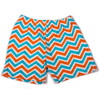 Zigzag stripe printed infant girls shorts