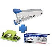 Combo Set Of Kangaro Stapler 10 No. + Stapler Pin + Paper Punching Machine DP52