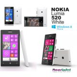 "Nokia Lumia 520 Windows 8 Full Touch Smart Phone 4"" , 1GHz CPU, 5MP / White"