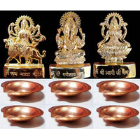 24 Carat Gold Plated Laxmi Ganesh Durga With 6 Copper Diya