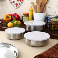 Set Of 12 Steel Containers With 12 Lids
