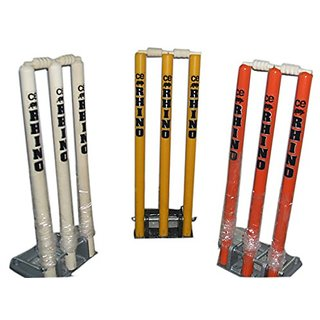 Rhino Top Quality Cricket Spring Back Cricket Stump Set-98Metal and Wooden Stumps-Assorted Colours