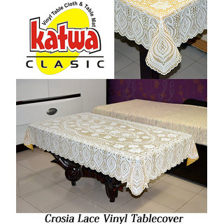 Katwa Clasic - 36 x 54 Lace Vinyl Tablecloth Crosia Design (Gold)