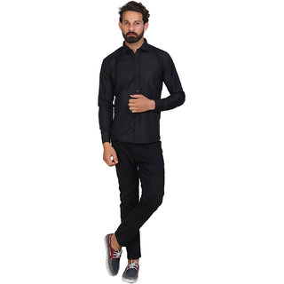 Mens Solid Formal Black Shirt