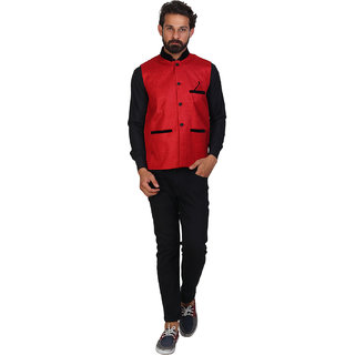 Sleeveless Solid Mens Red Jacket