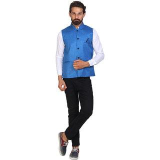 Sleeveless Solid Mens Royal Blue Jacket