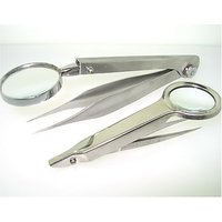 Se - Tweezers With Magnifier - Stainless Steel Body, 4X