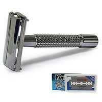 Weishi 9306-C New Mithril Double Edge Safety Razor With 5 Yjl Blades