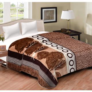 Spangle Printed BrownWhite Flannel Blanket Top sheet