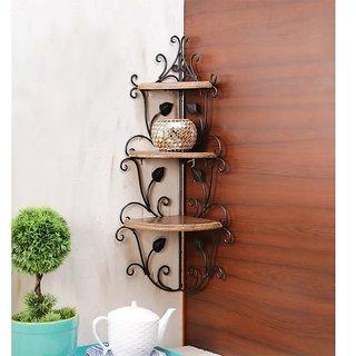 Onlineshoppee Wooden Iron Corner Rack Home Decor Corner Shelves Size (LxBxH-8.5x8.5x26) Inch