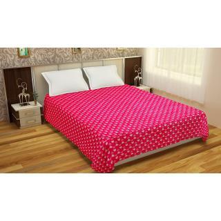 Spangle Printed Pink Flannel Blanket Top sheet