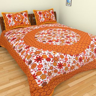 Designer  Sanganeri Print Cotton Bedsheet Double