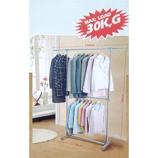 Unique Cartz Double Pole Cloth Drying Rack hanger STAND  Stainless steel Large