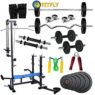 Fitfly Combo Home Gym Set 20 In1 Bench 100kg Weight Accessories