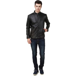 Leather Retail Black Leather Jacket with Fur Lining for man