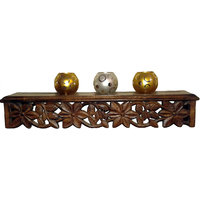 Beautiful And Elegant Hand Carved Wooden Wall Shelf - The Woods Hut