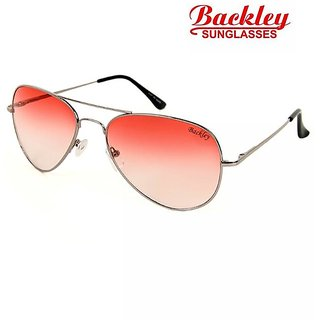 Backley BS-1927 Silver Orange Aviator Unisex Sunglasses