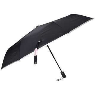 Murano Silver Piping 3 Fold Auto Open Auto Close Black Umbrella