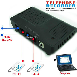 2 Line USB Intellicall Voice Logger Telephone Recorder