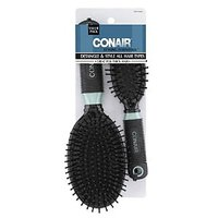 Conair Professional Full And Mid Size Nylon Cushion Brush Set, Colors May Vary