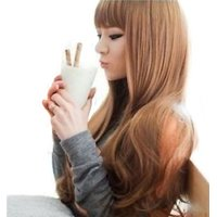 Cool2day Fancy Long Healthy Hair Wig+wig Cap (Model: Jf010321) (Light Brown)