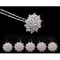 Catalina Clear Crystal Rhinestone Hair Pins Set Of 10pcs