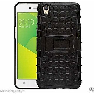 SIFAT Oppo A37 shockproof Armor defender with stand Hybrid cover case - BLACK