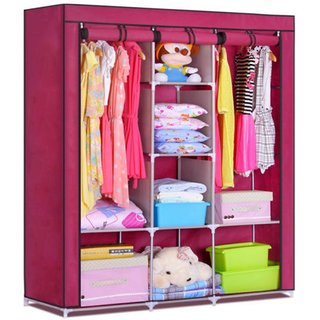 HOMEBASICS FOLDING WARDROBE NON WOVEN CANVAS CLOTHS SHELF AND COVER FOR DAILY USE 88130