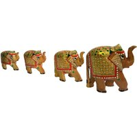 Wooden Hand Carved Elephants (Set Of 4) - The Woods Hut