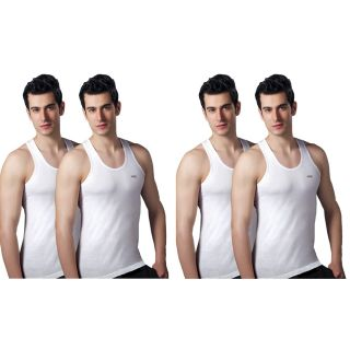 Amul Sleeveless Cotton White Vests - Pack of 4