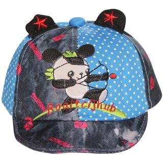 Wonderkids Panda Patch Blue Kids cap with Ears (1-3 Years)